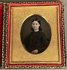 1/6 PLATE DAGUERREOTYPE OF CUTE TEENAGE GIRL, ID'd M. A. WATERS, OLD PAPER SEALS