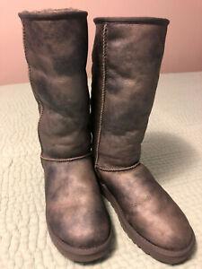 UGG Australia Tall Classic Silver Grey Metallic Leather Sheepskin Boots Sz 10