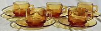Vintage French Amber Glass Coffee Cup and Saucer Set of 5 Vereco France