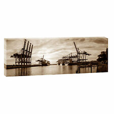 Hamburg Hafen se Bild Leinwand Poster Modern Design Panorama  120 cm* 40 cm 655