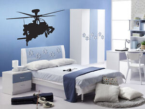 Apache Military Helicopter Vinyl Wall Art Sticker Decal - Kids Bedroom +FREE P&P