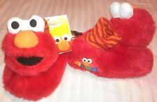 """NEW"" Sesame Street ~ ELMO ~ Fuzzy SLIPPERS Boys Girls Sz L 9 10 SOCK TOP Furry"