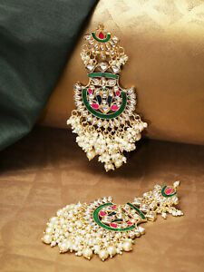 Indian Bollywood Gold Plated Chandbali Pearl Kundan Earrings Jhumka Set Jewelry