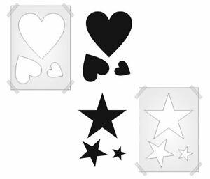 HEARTS STARS STENCIL SHAPES CRAFTS PLASTIC template 190mic Mylar WALL ART