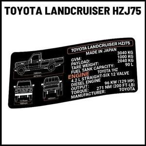 HZJ 1HZ  Landcruiser Specs decal sticker Toyota ute