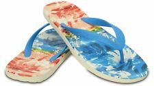 Crocs Chawaii Tropical II Flip Flops Mens 13 Ocean Blue Tangerine Orange Sandals