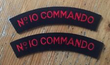 2 x No 10 Commando Shoulder Titles - Pair - Repro WWII Patches BRITISH Army SAS