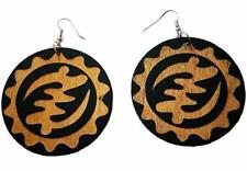 Round Black and Brown Adinkra Gye Nyame Wood Drop Earrings. Wooden Jewellery