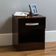 Hulio High Gloss Bedside Cabinet Black Walnut 1 Drawer Bedroom Furniture New