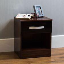 Hulio High Gloss Bedside Cabinet Black Walnut 1 Drawer Bedroom Furniture New