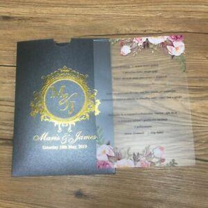 Transparent Weddings Invitation Cards With Laser Cuts Designed Envelopes Set New