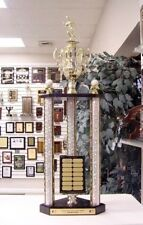 """Fantasy Baseball Awesome New Large Three Post Trophy 14 Year Perpetual 35"""" *"""