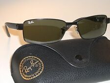 RAY BAN RB3272 STUNNING SLIM-LINE BLACK G15 UV GLASS RECTANGULARs SUNGLASSES