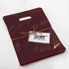100 9x12 Burgundy Plastic Retail Die Cut Handle Merchandise Bag Boutique