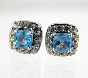 A 925 Sterling Silver Blue Topaz CZ Halo Stud Pierced Earrings Cubic Zirconia
