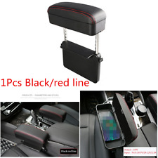 1x Black/Red Universal Car PU Leather Adjustable Armrest Box For Elbow Support