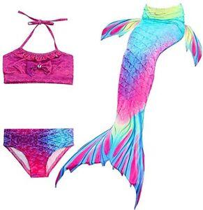 Hejin SPEEDEVE Coda da Sirena Bambina Bikini Costume Bagno 140, Dh02