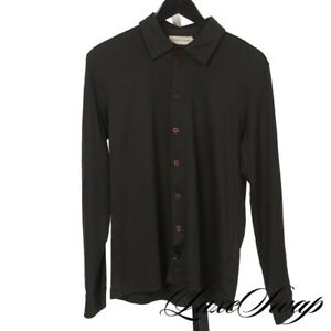 Emporio Armani Made in Italy Greyed Brown Knit Stretch Draped Jersey Shirt S NR