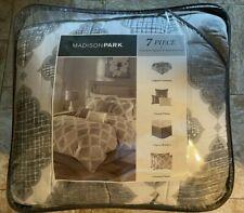 New! 7 Piece Madison Park Grey Gray White Fluer De Lis Comforter Set Queen Size