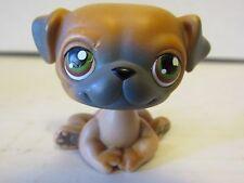 2004 Littlest Pet Shop Retired Mocha Brown & Gray Pug  #2 Green & Brown Eyes LPS