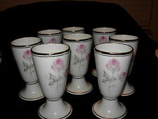 Pate De Emaux Limoges 8 Footed Goblets Double Pink Roses Grey Leaves Silver Trim