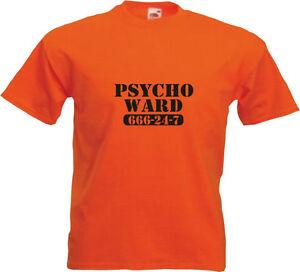 Mens Funny T-Shirt PSYCHO 666-24-7   Black Logo on Orange Tee - The Bates Motel