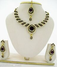 Maroon Crystal Rhinestone Choker Necklace Bollywood Style Fashion Jewelry Set