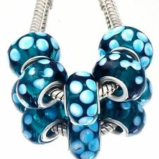 5pcs Blue Murano Glass Lampwork White Spot Bead Charms Fit European Bracelets