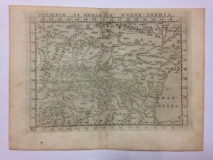 POLAND HUNGARY 1575 PTOLEMY / RUSCELLI ANTIQUE ENGRAVED MAP 16TH CENTURY
