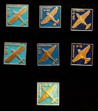USSR Pin Russia badge.Full set of 7 Russian Planes. Aircraft .Avions militaires