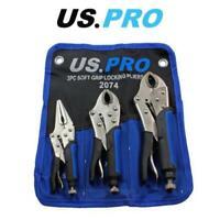 "US PRO Tools 3pc Soft Grip Locking Pliers Set 6.5, 7, 10"" Mole Grips 2074"