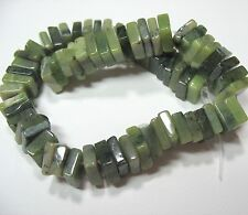 "Green Nephrite Jade 8mm Flat Square Heishi Rondelle Beads 8"" Strand Spacer Accen"