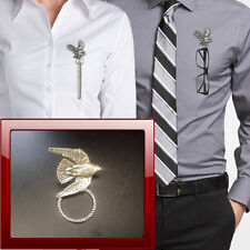 Stooping Falcon B15 Pewter Pin Brooch Drop Hoop Holder Glasses,Pen,Jewellery