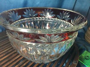 """Mikasa Corinth Ruby Red cut to clear Round Crystal Bowl 9 3/8"""""""