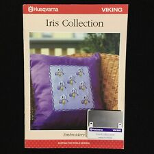 Iris Embroidery Designs Card for Husqvarna Viking Rose Iris Scandinavia #1+