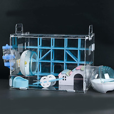 New listing Nynelly Hamster Cage,Transparent Durable Small Animal Cage and Habitats House,In