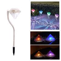 Solar Power Diamond Shape LED Lawn Lamp Garden Yard Light Outdoor Path Spot Lamp