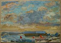 Russian Ukrainian Soviet Oil Painting impressionism landscape sky horizon
