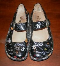 Women's ALEGRIA PEACE LOVE LEATHER Black MARY JANE SHOES SIZE 36 6 / 6.5 BEATLES