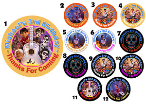 DISNEY PIXAR COCO PERSONALIZED ROUND BIRTHDAY PARTY STICKERS FAVORS~ ALL SIZES