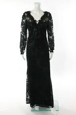 Marchesa Notte Black Sequined Lace Trident Gown Size 12 New $1495 10247014