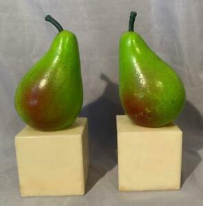 Raymor Mid-Century Alabaster Pear Bookends Italy Nice!