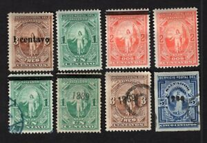 Salvador 1889 8 stamps MH/MNG/used