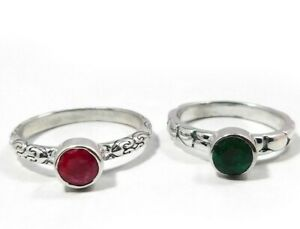 Stacking Ruby/Emerald Ring 925 sterling silver jewelry 2.5g Free Shipping MR1307