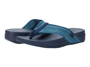 Women's Shoes FitFlop SURFA T-Strap Wedge Flip Flop Sandals H84-641 SEA BLUE