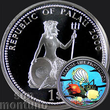 2000 Palau $1 SHIPWRECK & FISH Marine Life Protection Silver Plated Copper Coin