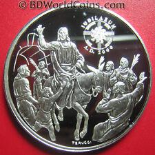 1999 ANDORRA 10 DINERS .94oz SILVER PROOF JUBILEE 2000 JESUS ON DONKEY JERUSALEM