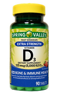 SPRING VALLEY QUICK DISSOLVE VITAMIN D3 TABLETS (5000 IU) 90 COUNT