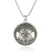 Triple Moon Goddess Wicca Pentagram Magic Amulet Necklace Women tree moon
