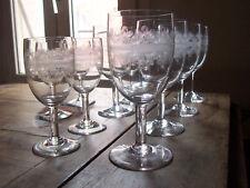Anciens VERRES à pied CRISTAL gravé  BACCARAT ? Verre à Eau Bourgogne Bordeaux